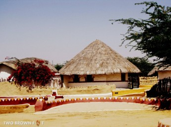 The thatched roof houses offers a much needed respite from the scorching rays of the sun.