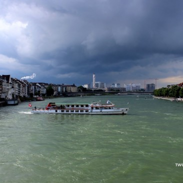 The Rhine set across a backdrop of grey clouds.