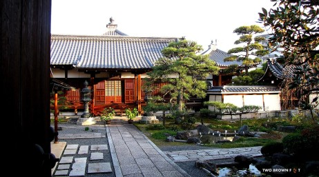 A typical Japanese Garden. In the afternoon, the streets were desolate.