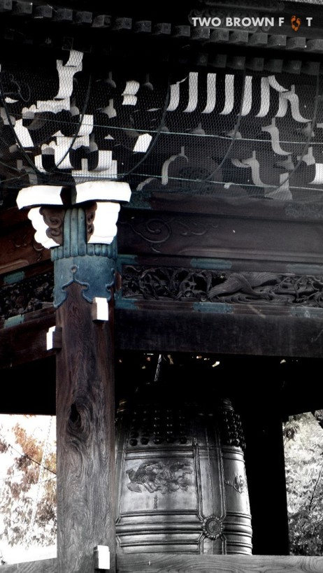 An antique bell in the temple complex.