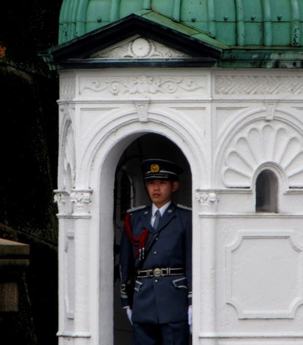 A palace guard wears a solemn look.