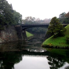 The moat that surrounds the palace.