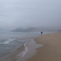 A foggy evening at Haeundae Beach (해운대해수욕장)